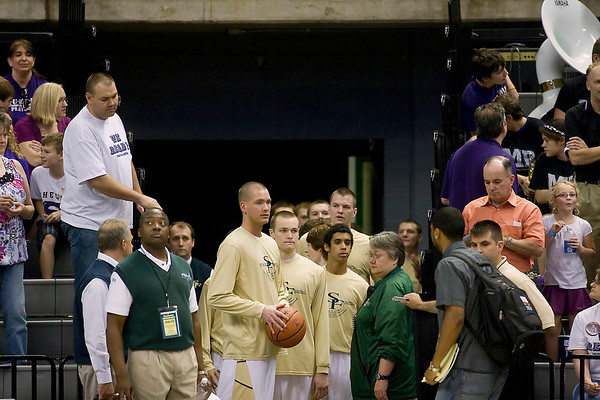 Record-Eagle/Jan-Michael Stump<br /> Traverse City St. Francis players wait to take the court to warm up for Thursday afternoon's Class C state semifinal game at the Breslin Center in East Lansing.