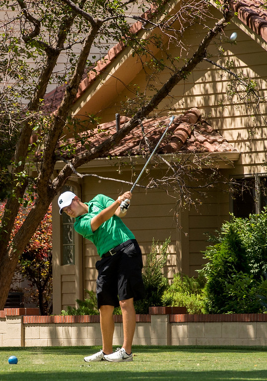 . Niwot\'s Jake Butler tees off at the second hole Thursday afternoon August 11, 2016 during Northern Conference Golf action at the Olde Course in Loveland. More photos: BoCoPreps.com (Photo by Michael Brian/Loveland Reporter-Herald)