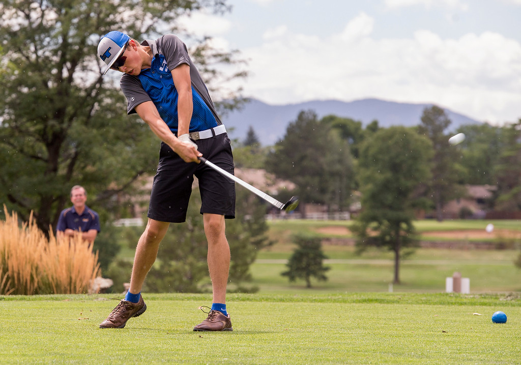 . Longmont\'s Micah Frattini tees off at the Olde Course Thursday afternoon August 11, 2016 during Northern Conference Golf action in Loveland. More photos: BoCoPreps.com (Photo by Michael Brian/Loveland Reporter-Herald)
