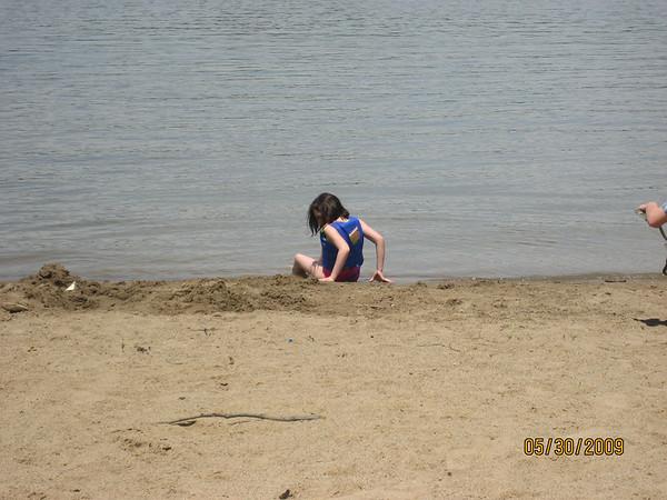 Beach and Sunfish sailing on Cowan Lake, May 30, 2009