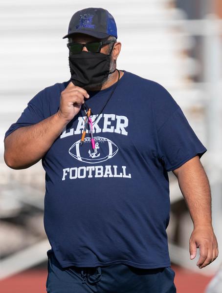 Bonneville football coach Jantz Afuvai gets his team ready for the upcoming 2020 season. At Bonneville High School, on August 3, 2020.