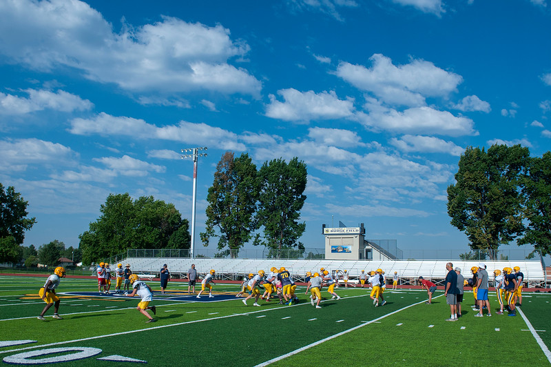 Bonneville football team conducts early morning practice to be ready for the upcoming season. At Bonneville High School, on August 3, 2020.