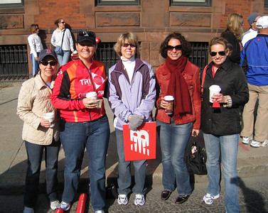 NYC women in Beantown for the Trials - Tracy, Michelle, Karen (oops, she's from IN), Emily, and Jen (holding the cowbell that was confiscated from Peter)