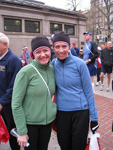 Michelle, Debbie on Boston Common, waiting for bus pickup at 6:45am marathon morning