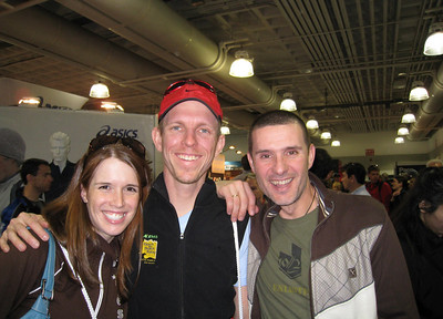 Kelly, Peter, Ramon at the Runners World booth at the Marathon Expo