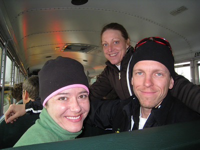 Two speedy ladies (Michelle, Sandy) and Peter on zee bus from Bahston out to Hopkinton