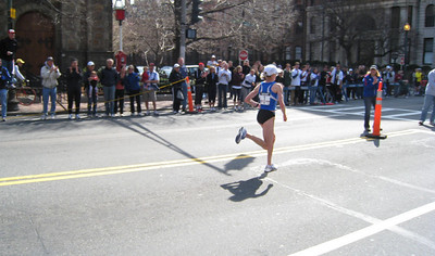 There goes Deena Kastors, winner of the US women's Olympic trials, in the lead at mile 25 enroute to finish!