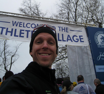 Peter in self portrait, entrance to Athlete's village at Hopkinton high school