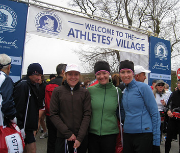 Sandy, Michelle, Debbie at entrance to Athlete's village, Hopkinton high school