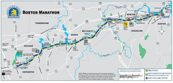 Boston Marathon course map - all 26.2 miles from Hopkinton to Boston