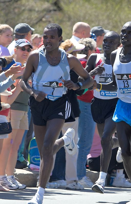 <h3>The top men were all together when they passed me. <p> The eventual winner was Hailu Negussie of Ethiopia, wearing bib number 7. To his left are Timothy Cherigat who finished sixth, down almost 3 minutes and Benson Cherono who finished third down about a minute. </h3>