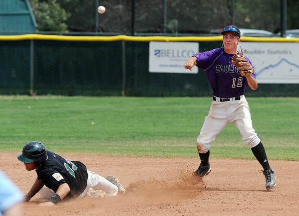 """Levi Chandler of Boulder, tries to turn a double play after gettingChad Bible out at second.<br /> For  more photos of the game, go to  <a href=""""http://www.dailycamera.com"""">http://www.dailycamera.com</a>.<br /> Cliff Grassmick  / August 3, 2012"""
