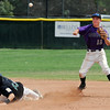 "Levi Chandler of Boulder, tries to turn a double play after gettingChad Bible out at second.<br /> For  more photos of the game, go to  <a href=""http://www.dailycamera.com"">http://www.dailycamera.com</a>.<br /> Cliff Grassmick  / August 3, 2012"