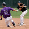 """Ray Feigal of Boulder tries to get to second before Codi Heuer of Fossil Ridge, can make the out during Legion play on Friday.<br /> For  more photos of the game, go to  <a href=""""http://www.dailycamera.com"""">http://www.dailycamera.com</a>.<br /> Cliff Grassmick  / August 3, 2012"""