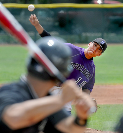 "Rueben Garcia of Boulder, had a shutout going into the 6th inning. Boulder ended up beating Fossil Ridge 17-10 during Legion play on Friday.<br /> For  more photos of the game, go to  <a href=""http://www.dailycamera.com"">http://www.dailycamera.com</a>.<br /> Cliff Grassmick  / August 3, 2012"