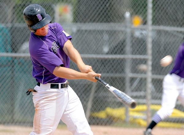 "Dylan Platt (5) of Boulderhits a  home run   against Fossil Ridge on Friday in Legion Baseball. Boulder won 17-10.<br /> For  more photos of the game, go to  <a href=""http://www.dailycamera.com"">http://www.dailycamera.com</a>.<br /> Cliff Grassmick  / August 3, 2012"