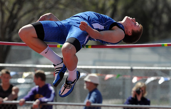 "Josh Cogdill of Longmont High School wins the high jump with a jump of 6'5"" on Saturday.<br /> For a  photo gallery of the track meet, go to  <a href=""http://www.dailycamera.com"">http://www.dailycamera.com</a>.<br /> Cliff Grassmick/ April 16, 2011"