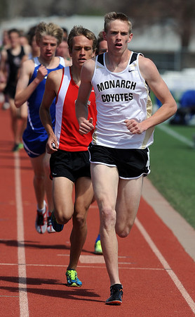 "Kirk Webb of Monarch High School, wins the 1600 meters on Saturday.<br /> For a  photo gallery of the track meet, go to  <a href=""http://www.dailycamera.com"">http://www.dailycamera.com</a>.<br /> Cliff Grassmick/ April 16, 2011"