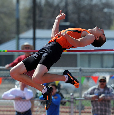 """Mitchell Solomon of Erie High School was second in the high jump at 6'5"""".<br /> For a  photo gallery of the track meet, go to  <a href=""""http://www.dailycamera.com"""">http://www.dailycamera.com</a>.<br /> Cliff Grassmick/ April 16, 2011"""