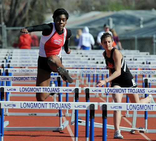 "Deandra Elcock of Skyline High wins the 100 meter hurdles on Saturday.<br /> For a  photo gallery of the track meet, go to  <a href=""http://www.dailycamera.com"">http://www.dailycamera.com</a>.<br /> Cliff Grassmick/ April 16, 2011"