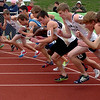 Runners in the 1600 meters  battle to position themselves at the start of the race on Saturday.<br /> Cliff Grassmick / April 17, 2010