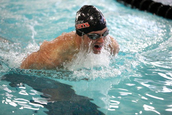 "Fairview's Colin Brown wins the 100 yard Breaststroke at the Boulder County Invitational on Saturday, April, 14, 2012, Boulder.<br /> Photo by Derek Broussard<br /> For more photos visit  <a href=""http://www.dailycamera.com"">http://www.dailycamera.com</a>"