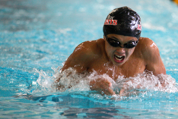 "Fairview's Rei Isobe swims in the 200 yard IM at the Boulder County Invitational on Saturday, April, 14, 2012, Boulder.<br /> Photo by Derek Broussard<br /> For more photos visit  <a href=""http://www.dailycamera.com"">http://www.dailycamera.com</a>"