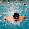 "Silver Creek High School's Drew Weibel rips through the water in the 100-Yard Butterfly race during a Boulder county swim meet on Saturday, April 16, at the South Boulder Recreation Center in Boulder. Weibel took second place in the race.<br /> For more photos and video go to  <a href=""http://www.dailycamera.com"">http://www.dailycamera.com</a><br /> Jeremy Papasso/ Camera"