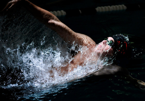 "Fairview High School sophomore Sebastian Harvey glides through the water in the 200-yard Medley Relay race during a Boulder county swim meet on Saturday, April 16, at the South Boulder Recreation Center in Boulder. Fairview won the race.<br /> For more photos and video go to  <a href=""http://www.dailycamera.com"">http://www.dailycamera.com</a><br /> Jeremy Papasso/ Camera"