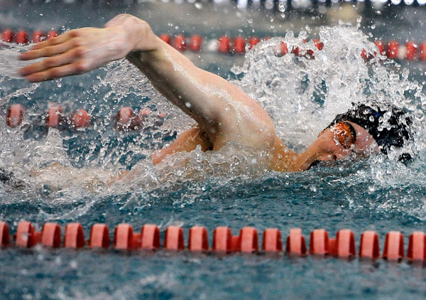 "Longmont High School's Tony Huff glides through the water in the 100-Yard Freestyle race during a Boulder county swim meet on Saturday, April 16, at the South Boulder Recreation Center in Boulder. Huff won the race.<br /> For more photos and video go to  <a href=""http://www.dailycamera.com"">http://www.dailycamera.com</a><br /> Jeremy Papasso/ Camera"