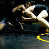 Boulder's Eli Novotony (right) wrestles Monarch's Gus Sawicki during the match at Monarch High School in Louisville, Thursday, Jan. 28, 2010.  <br /> KASIA BROUSSALIAN