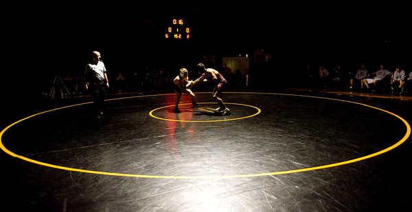Boulder's Axel Wessell (left) wrestles Horizon's Teller Junak during the match at Monarch High School in Louisville, Thursday, Jan. 28, 2010.  <br /> KASIA BROUSSALIAN