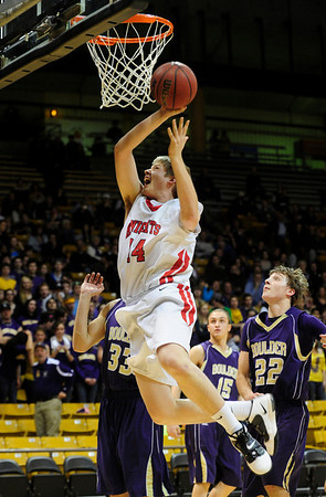 FVBBOYS<br /> Fairview's Jacob Lorentzen gos up for a shot against Boulder.<br /> photo by Marty Caivano/Jan. 18, 2011