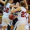 FVBGIRLS<br /> Boulder's Maddie Gates receives some heavy guarding from Georgina Ryder, left, and Hannah Hyde of Fairview.<br /> photo by Marty Caivano/Jan. 18, 2011