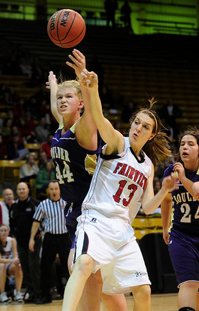 FVBGIRLS<br /> Boulder's Ande Lampert, left, fights for a rebound against Nina Ball of Fairview.<br /> photo by Marty Caivano/Jan. 18, 2011