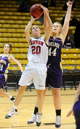 FVBGIRLS<br /> Caitlin Higgins of Fairview shoots against Ande Lampert of Boulder.<br /> photo by Marty Caivano/Jan. 18, 2011