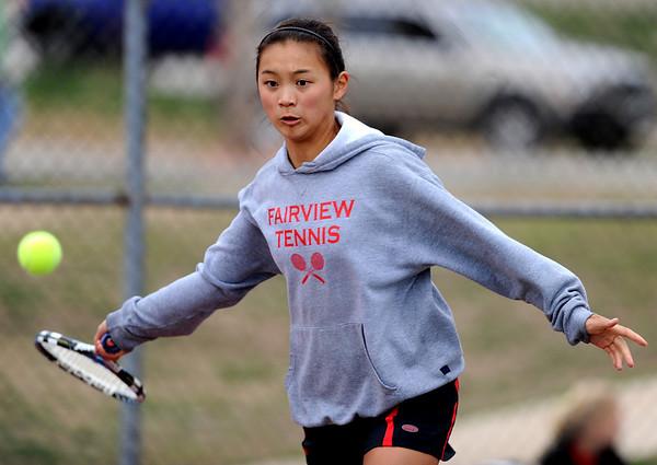 "Monica Li of Fairview plays against Boulder's #1 Miquela Newhart on Wednesday.<br /> For more photos, go to  <a href=""http://www.dailycamera.com"">http://www.dailycamera.com</a>.<br /> Cliff Grassmick / April 21, 2010"