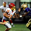 """Boulder High's Andrew Wishner (8) and Blake Gouin (5) take down Northglenn's QB Jared Radebough (10) during the game at Recht Field in Boulder, Sept. 11, 2009.<br /> <br /> For more photos please visit  <a href=""""http://www.dailycamera.com"""">http://www.dailycamera.com</a><br /> <br />  DAILY CAMERA/Kasia Broussalian"""