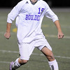 """Boulder High School junior """"Paco"""" Resendiz works the ball up the field on Thursday, Oct. 14, during a soccer match against Fort Collins at Recht Field in Boulder.  The final score was 2-2 after two overtimes.<br /> Jeremy Papasso/ Camera"""