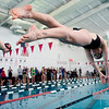 Monarch senior Whitney Dougherty jumps off the blocks for the 200 Yard IM race during the Boulder County Invitational at the South Boulder Recreation Center in Boulder, Saturday, Jan. 23, 2009. <br /> KASIA BROUSSALIAN