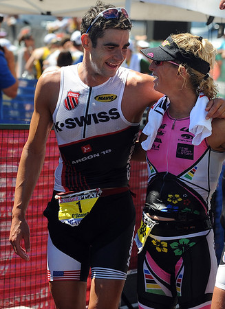 """Tim O'Donnell and Joanna Zeiger, were the pro winners of the Boulder Peak Triathlon on Sunday.<br /> For more photos  and video of the Boulder Peak, go to  <a href=""""http://www.dailycamera.com"""">http://www.dailycamera.com</a><br />  Cliff Grassmick / July 11, 2010"""