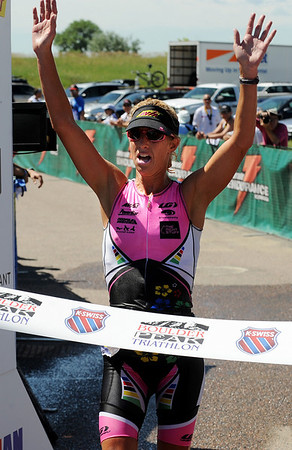 "Joanna Zeiger was the first  pro female finisher in the Boulder Peak Triathlon on Sunday at the Boulder Reservoir.<br /> For more photos  and video of the Boulder Peak, go to  <a href=""http://www.dailycamera.com"">http://www.dailycamera.com</a><br />  Cliff Grassmick / July 11, 2010"