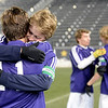 Boulder High School's Cory Waltrip, No. 11, hugs teammate Lake Brant after winning the boys Class 5A State Championship against Smoky Hill High School on Monday, Nov. 12, at Dick's Sporting Goods Park in Commerce City. Boulder won the game 3-1.<br /> Jeremy Papasso/ Camera