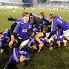 Boulder High School's Cory Waltrip, No. 11, at center, and his teammates create a hog pile after winning the boys Class 5A State Championship against Smoky Hill High School on Monday, Nov. 12, at Dick's Sporting Goods Park in Commerce City. Boulder won the game 3-1.<br /> Jeremy Papasso/ Camera