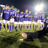 Boulder High School Head Coach Hardy Kalisher does the worm for his team as a kept promise after winning the boys Class 5A State Championship against Smoky Hill High School on Monday, Nov. 12, at Dick's Sporting Goods Park in Commerce City. Boulder won the game 3-1.<br /> Jeremy Papasso/ Camera