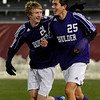 Boulder High School's Lake Brant, left, runs beside Pancho Valdivieso as he points the crowd after scoring a goal during the boys Class 5A State Championship against Smoky Hill High School on Monday, Nov. 12, at Dick's Sporting Goods Park in Commerce City. Boulder won the game 3-1.<br /> Jeremy Papasso/ Camera