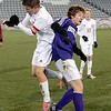 Boulder High School's Matteo Wilczak, right, goes for a header against Austin Rebik during the boys Class 5A State Championship against Smoky Hill High School on Monday, Nov. 12, at Dick's Sporting Goods Park in Commerce City. Boulder won the game 3-1.<br /> Jeremy Papasso/ Camera