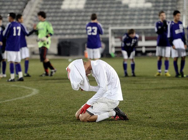 A Smoky Hill High School player shows his emotions after losing the boys Class 5A State Championship against Boulder Hill High School on Monday, Nov. 12, at Dick's Sporting Goods Park in Commerce City. Boulder won the game 3-1.<br /> Jeremy Papasso/ Camera