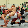 Alex Klopp, top, of Yuma, was able to beat Mike Ashton of Frederick 7-5 at 112 pounds.<br /> Cliff Grassmick / January 9, 2010