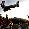 Fort Collins cheerleaders warm up before the game with Boulder at Recht Field at Boulder High School in Boulder Thursday, Sept. 17, 2009.<br /> <br />  DAILY CAMERA/ Kasia Broussalian